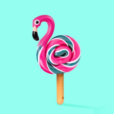 Canvas print An alternative sweets. Candy as a flamingo on the wooden stick on blue background. Negative space to insert your text. Modern design. Contemporary art. Creative conceptual and colorful collage.