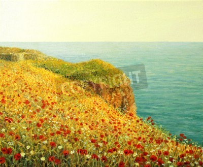 An oil painting on canvas of a beautiful seascape with vivid red poppies at the Black sea coast in the warm light of the sunset