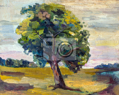 Canvas print An oil painting on canvas of a seasonal autumn rural landscape with colorful old pear tree, growing alone on a bright sunny meadow near the forest.