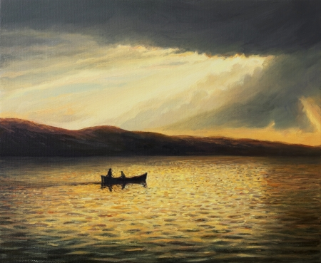 An oil painting on canvas of a tranquil summer seascape with a ray of sunshine
