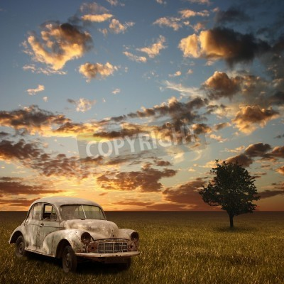 Canvas print An Old Abandoned Car with Sunset