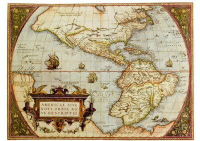 Canvas print Ancient map of the Americas. Photo from old reproduction