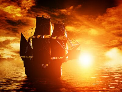 Canvas print Ancient pirate ship sailing on the ocean at sunset