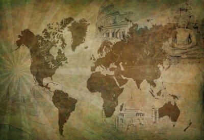 Canvas print ancient world travel map