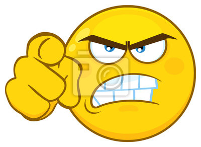 angry yellow cartoon emoji face character with aggressive