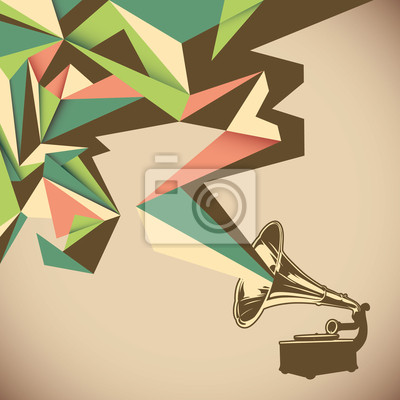Canvas print Angular abstraction with old gramophone.