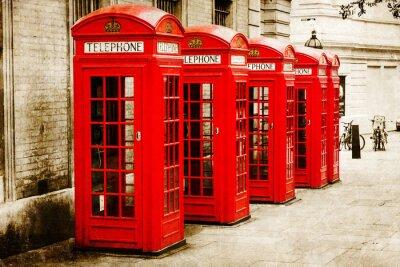 Canvas print antik texturiertes Bild roter Telefonzellen in London
