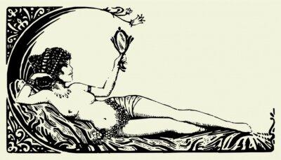 Antique Beautiful Woman Vector 01