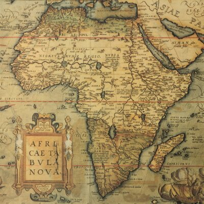 Canvas print antique map map of Africa  by dutch cartographer Abraham Ortelius