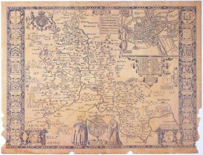 Canvas print Antique Oxfordshire map