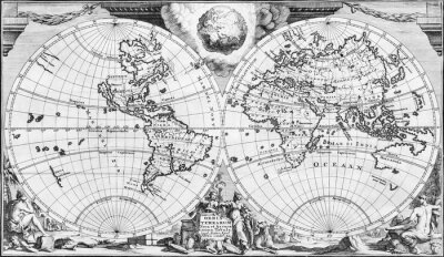 Canvas print Antique world map of the 18th century, in black and white