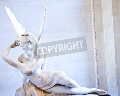 Canvas print Antonio Canova's statue Psyche Revived by Cupid's Kiss, first commissioned in 1787, exemplifies the Neoclassical devotion to love and emotion