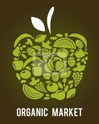 apple with fruits and vegetables pattern , vector illustration