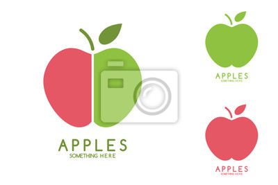 Apples vector isolated. Apples icon. Apples logo. Apples with green leaf isolated. Nature Apples logotype. Fruits and vegetables.