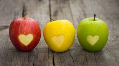 Canvas print Apples with engraved hearts
