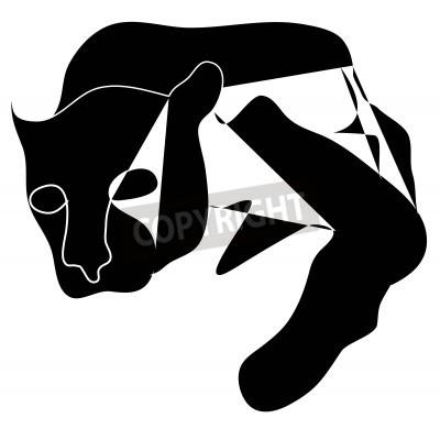 Canvas print Art cubism black silhouette of black pantera