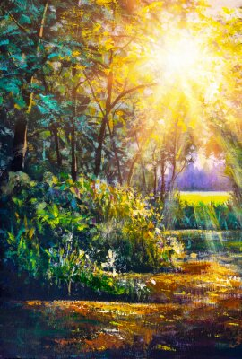 Canvas print Art painting Scenic forest of fresh green deciduous trees framed by leaves, with sun casting its warm rays through foliage