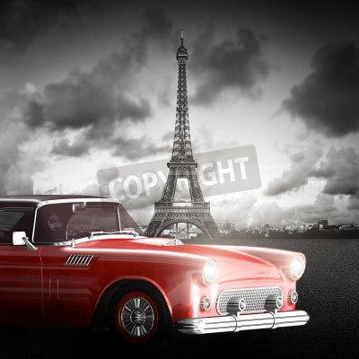 Canvas print Artistic image of Eiffel Tower, Paris, France and red retro car.