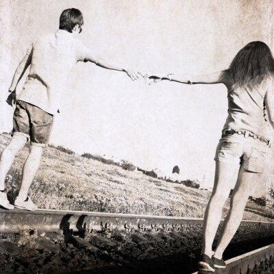 Canvas print artwork in retro style, couple