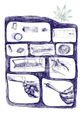 as packaged marijuana joint, storyboard