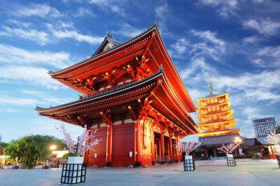 Canvas print Asakusa temple with pagoda at night, Tokyo, Japan
