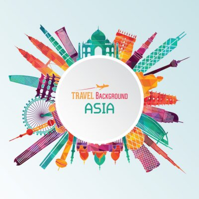 Canvas print Asia detailed silhouette. Vector illustration