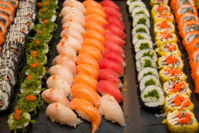 Canvas print Assorted japanese sushi