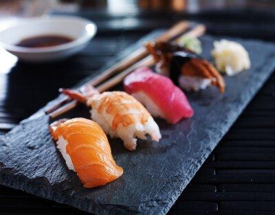 Canvas print assorted sushi nigiri on slate