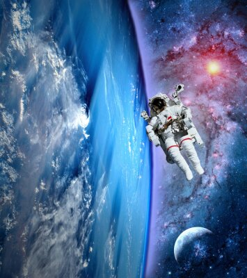 Canvas print Astronaut Spaceman Earth Moon