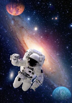 Canvas print Astronaut spaceman outer space people galaxy planet solar system universe. Elements of this image furnished by NASA.