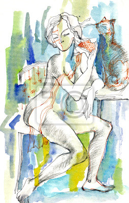 at home (woman with cat)