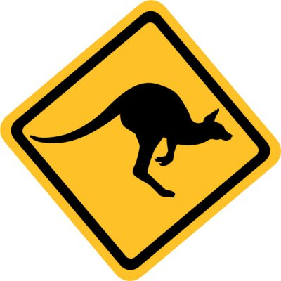 Canvas print Australia kangaroo sign