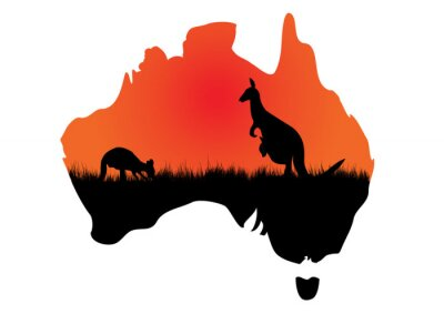 Canvas print Australian map with kangaaroo