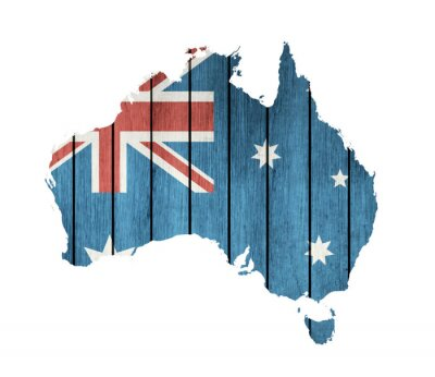 Canvas print Australian Map With Wooden Flag