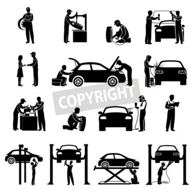 Canvas print Auto service icons black set with mechanic and cars silhouettes isolated vector illustration
