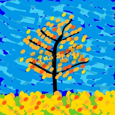 Canvas print Autumn landscape in the style of Impressionism. Vector illustration.