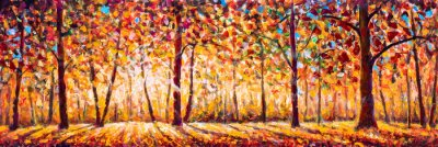 Canvas print Autumn  panorama Original oil painting on canvassunny park with red golden trees and meadow , natural seasonal background Original oil painting on canvas