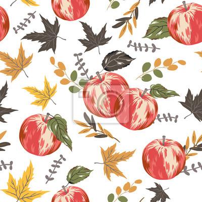 Autumn red apples, leaves, white background. Vector seamless pattern. Fall season illustration. October harvest. Organic fruit garden food. Nature design. Thanksgiving day