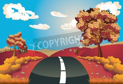 Autumn rural landscape with a road and trees illustration.