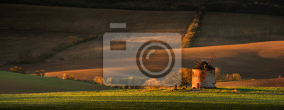 Autumn rural landscape with an old mill on a hill. South Moravia. Czech.