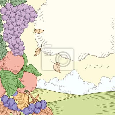Autumn rural landscape with fruits ornament