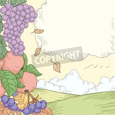 Autumn rural landscape with fruits ornament. Vector illustration.