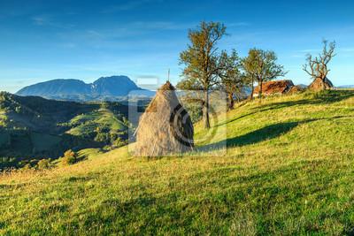 Autumn rural landscape with hay bales,Holbav,Transylvania,Romania,Europe