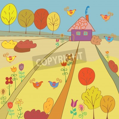 Autumn rural landscape with house