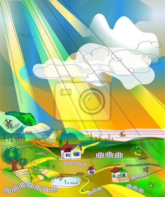Autumn Rural landscape with sky, fields, hills, lake and sea. Country landscape background for your design, space for text