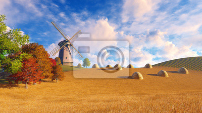 Autumn rural landscape with windmill and haystacks on a fields covered with dry grass. Realistic 3D illustration was done from my own 3D rendering file.