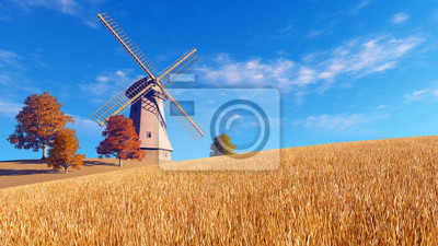 Autumn rural landscape with windmill on a fields covered with dry red grass against blue cloudy sky background. Realistic 3D illustration was done from my own 3D rendering file.