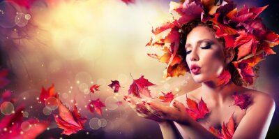Canvas print Autumn woman blowing red leaves - Beauty Fashion Model Girl
