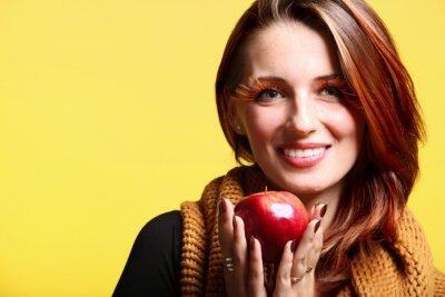Autumn woman red apple fresh girl glamour eye-lashes