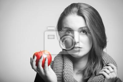 Autumn woman red apple fresh girl glamour eye-lashes black white